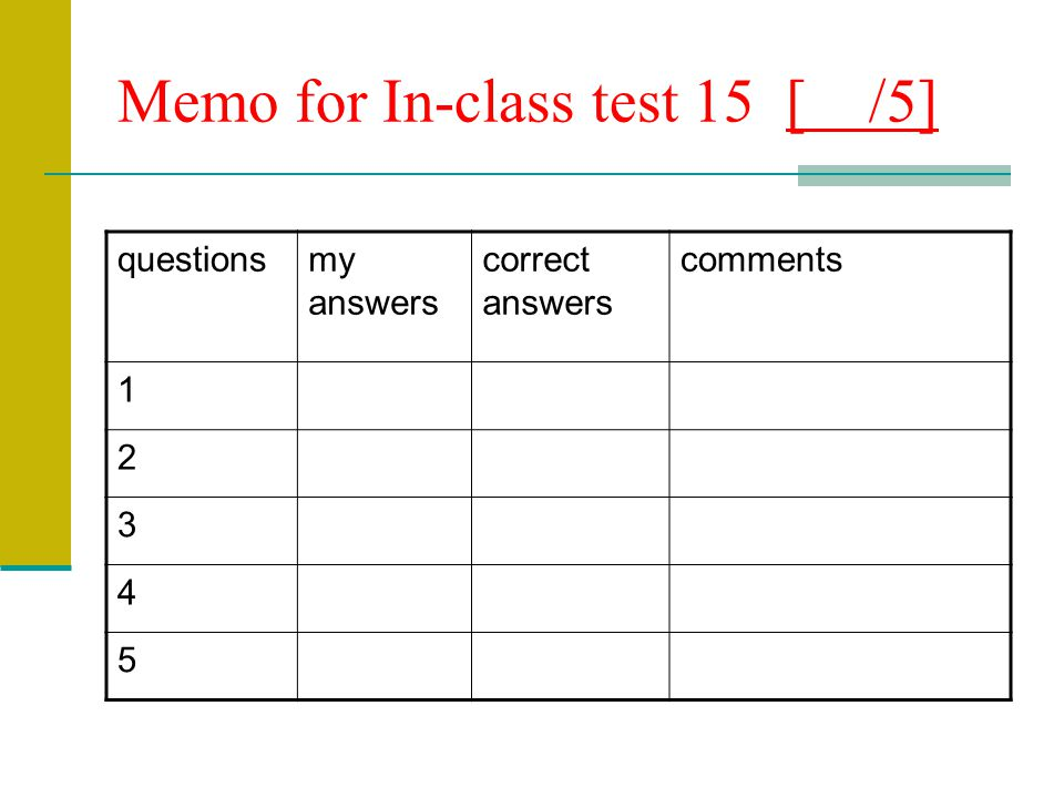 Memo for In-class test 15 [ /5]
